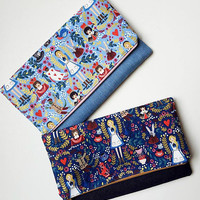 Alice in Wonderland inspired purse fold over clutch navy blue metallic gold