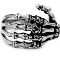 Stainless Steel Biker Ring with Gothic Skeleton Hand - Crazy2Shop