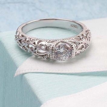 Vintage Engagement Ring - Cubic Zirconia Stone