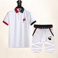 GG Embroidered Red and Green Stripes Double G Bee Short Sleeve + Shorts Two-piece Set