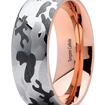 CERTIFIED 8mm Camouflage Rose Gold Tungsten Carbide 18k Rose Gold Wedding Band