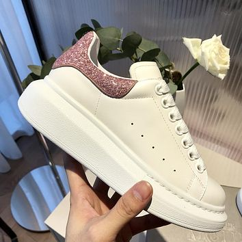 Alexander McQueen Fashion Woman Comfortable Leather Sneakers Sport Shoes