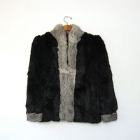 STOREWIDE SALE... 70s rabbit fur coat. black and gray fur coat.