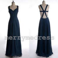 Navy Blue V-Neck Wide Straps Lace-up Back Long Celebrity Dress, Floor length Chiffon Formal Evening Party Prom Dress New Homecoming Dress