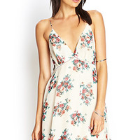 FOREVER 21 Y-Back Chiffon Dress Cream/Pink Large