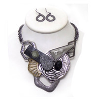Beautiful Stone Patterns and Shapes Multi Chain Necklace Set