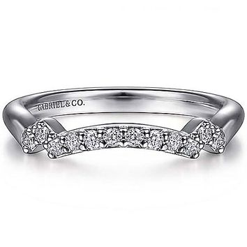 """Gabriel """"Carrie"""" Curved Prong Set Diamond Wedding Ring"""