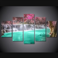 Waterfall Blues 5-Piece Wall Art Canvas