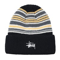 Striped Cuff Beanie Black