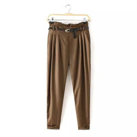 Women's Fashion Leaf Casual Waistband Pants [4919623748]