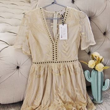 Tainted Rose Lace Romper in Sand