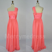 Coral Strapless One-shoulder Long Bridesmaid Celebrity Dress,Floor length Chiffon Formal Evening Party Prom Dress Homecoming Dress