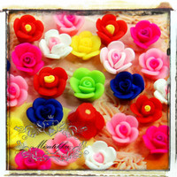 Mix Assorted Sets: 40 PCS X 11mm Polymer Clay Small Mini Tiny Roses Flowers Cabochon Flatback Nail Art Deco Necklace Starting Kit (FL23M)