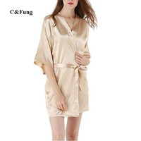C&Fung sexy lady robe champagne Women's Satin Plain Short Kimono Robe Bathrobe silky Pajamas dressing gown robes hot pink S-XXL
