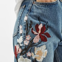 TALL Floral Embroidered Mom Jeans - Jeans - Clothing