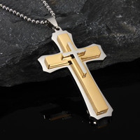 Cross Pendant Three Layers Silver Charm Necklace Chain Men Jewelry