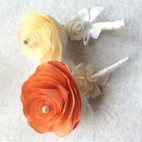 Corsages, Peony boutonnieres, Groom boutonniere, Prom corsage, Prom boutonniere, Paper boutonnieres, Fake Flower Corsages, Peony corsages