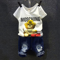 Children Cartoon Bear White T Shirt 2 Piece Sets