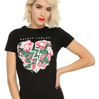 Mayday Parade Floral Heart Girls T-Shirt