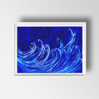 Ocean waves Abstract painting Wall decor Blue and white acrylic art print large small livingroom decal contemporary art deco sea beach water