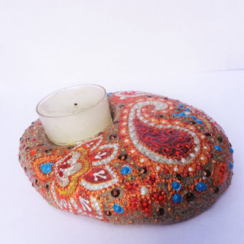 Paisley tea light Artisan stone Stone tea light Stone candle holder Painted stone Bohemian decor Boho decor