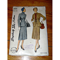 50's Ladies Suit Pattern Simplicity Vintage Fall Suit Sewing Pattern Womens 2 Piece Suit Skirt & Jacket Fall Winter Suit Eatons T Eaton Co