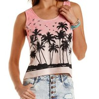Blush Combo Tropical Graphic Ombre Tank Top by Charlotte Russe