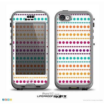 The Colorful Polka Dots on White Skin for the iPhone 5c nüüd LifeProof Case