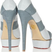 Charlotte Olympia Priscilla In Stripes chambray pumps – 55% at THE OUTNET.COM