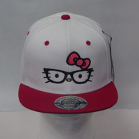 Hello Kitty Embroidered on a Snapback hat cap with glasses geek chic nerd