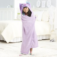 Jumping Beans Owl Hooded Microplush Throw (Purple)