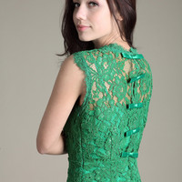green lace Organza elegant dress