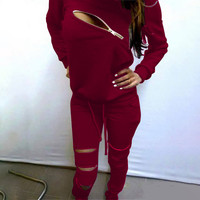 Red Long Sleeve Zip Detail Top and Drawstring Sweat Pants