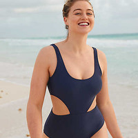 Aerie Super Scoop One Piece Swimsuit , Navy
