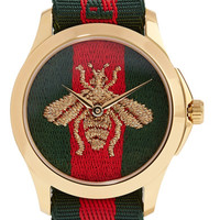 Gucci - Canvas and gold-tone watch