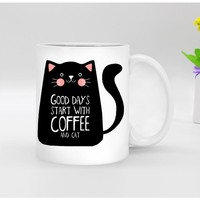 Funny novelty black cat Ceramic white coffee Mug