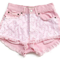 High waisted shorts with lace XS by deathdiscolovesyou on Etsy