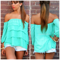 Warm Breeze Mint Open Shoulder Ruffle Top