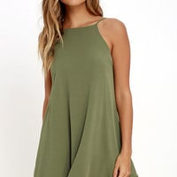 Sights and Sounds Olive Green Swing Dress