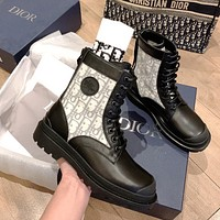 Dior CD new style personalized stitching leather shopping bag handbag fashion lady with round toe all-match motorcycle Martin boots