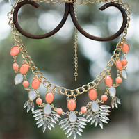 Beaded Brilliance Necklace Coral/White