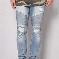 PacSun Stacked Skinny Moto Medium Wash Stretch Jeans at PacSun.com