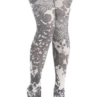 ModCloth Boho, French Patterned Pick Tights
