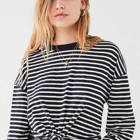 UO Ginger Oversized Knot Front Striped Top | Urban Outfitters