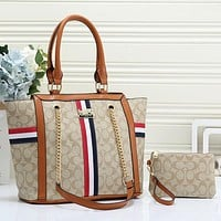 Coach Women Fashion Leather Handbag Tote Clutch Bag Set Two Piece