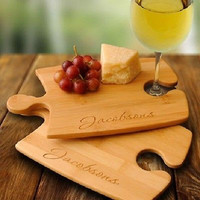 Bamboo Puzzle Cutting Board Set ~ Personalized