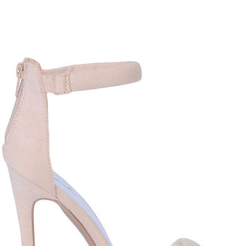 Nude Faux Suede Single Strap Heels