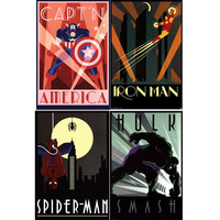 Marvel Superheroes Art Deco Poster Set