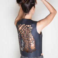 City on top - Statement top with a lasercut Athens' city map on the back