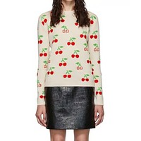 Gucci new women strawberry long sleeve round neck knitting sweater in autumn and winter 2019